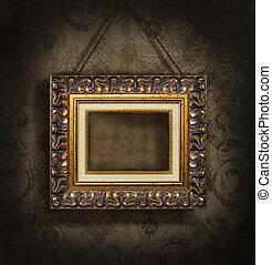 antieke , fotolijst, behang, goud