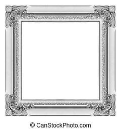 antieke , fotolijst, vrijstaand, achtergrond, witte , zilver