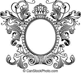 antieke , frame, gravure, scalable, en, editable, vector,...