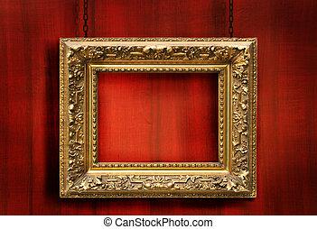 antieke , frame, hout, rode achtergrond