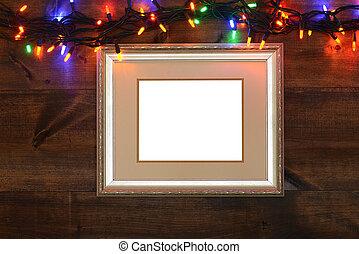 antieke , frame, met, christmas lights