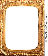 antieke , frame, metaal, goud