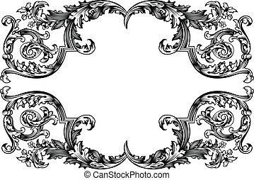 antieke , frame., ouderwetse , vrijstaand, vector, witte , design.
