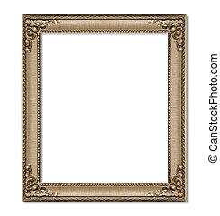 antieke , frame, vrijstaand, op wit, achtergrond