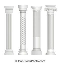 antieke , gebouw, column., kunst, griekse , afbeeldingen, pijlers, realistisch, vector, architectuur, historisch, oud beeldhouwwerk