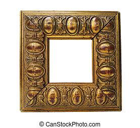 antieke , goldne, frame, vrijstaand, op wit