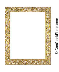 antieke , goud, lege, afbeelding, en, spiegel, frame