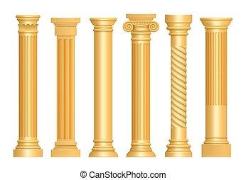 antieke , gouden, column., kunst, classieke, pijlers, realistisch, romein, vector, architecturaal, voetstuk, gebeeldhouwd kunstwerk