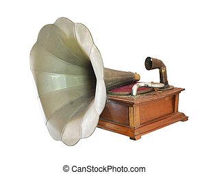 antieke , grammofoon, isoleren, op wit