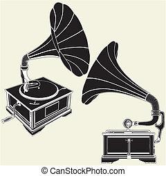 antieke , grammofoon
