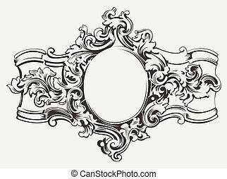 antieke , gravure, frame, sierlijk