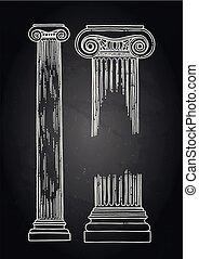 antieke , gravure, techniek, getrokken, ionisch, order, kolommen