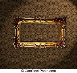 antieke , grungy, frame, behang, achtergrond