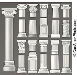 antieke , historisch, set, architecturaal, classieke, zuil, romein, ancientry, of, vrijstaand, vector, rome, cultuur, historisch, oud, illustratie, achtergrond, zuil, grieks architectuur