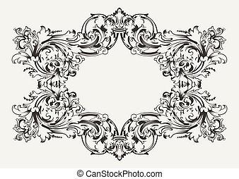antieke , hoog, frame, oud, sierlijk