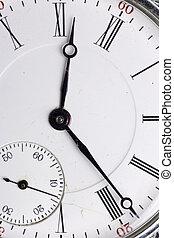 antieke , horloge, vrijstaand, zak, achtergrond, witte