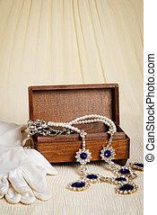 antieke , hout, juwelen, doosje