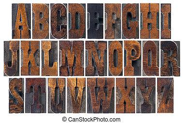 antieke , hout, type, alfabet
