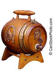 antieke , houten, kleine, bier vat, retro, voorwerp, vrijstaand