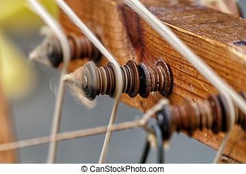 antieke , houten, koord, vervaardiging, machine, in, proces, van, het spinnen, een, koord