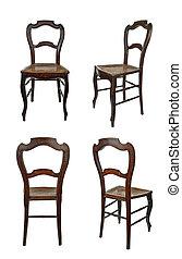 antieke , houten stoel, -, vier schouwt