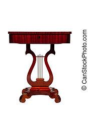 antieke , houten, vrijstaand, achtergrond, bureau, witte
