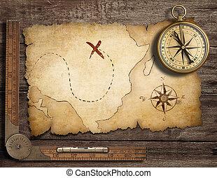 antieke kaart, oud, schat, nautisch, kompas, tafel, messing, oud