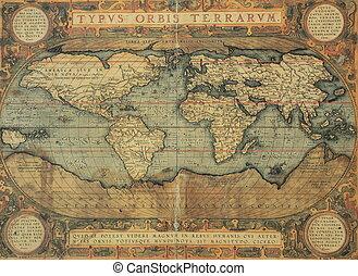 antieke kaart, van, de wereld