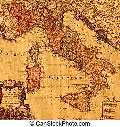 antieke kaart, van, italië