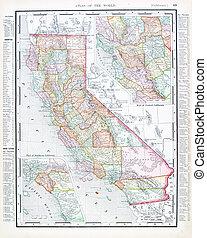 antieke kaart, verenigd, usa, kleur, staten, californië