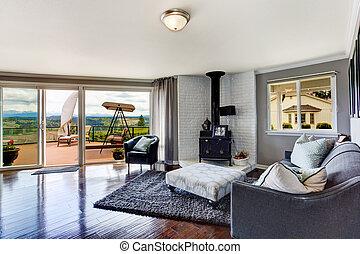 antieke , kamer, dek, woning, kachels, walkout, luxe, interior.