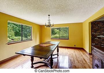 antieke , kamer, vloer, loofhout, het dineren, lege, meubel