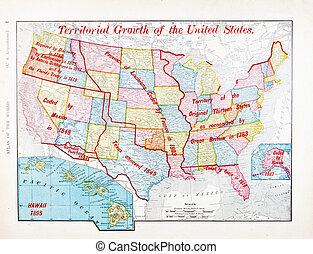 antieke , kleuren kaart, van, verenigde staten, uitbreiding,...