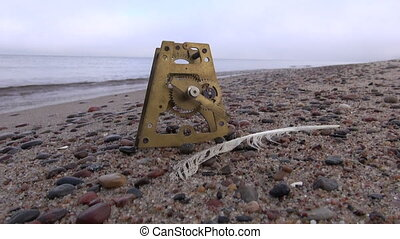 antieke , klok, messing, tandwiel, op, strand