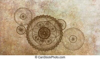 antieke , klokken samenstel van bewegende delen