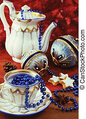 antieke , koffiekan, met, historisch, kerstmis, balls.
