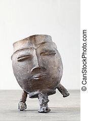 antieke , kunst, brons, pot, op, houten, talbe