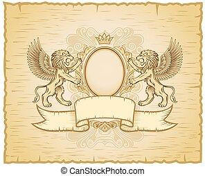 antieke , leeuw, embleem