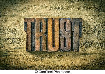 antieke , letterpress, hout, type, het drukken stremmingen, -, vertrouwen