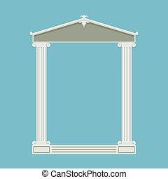antieke , marmer, voorkant, ionisch, tempel, kolommen