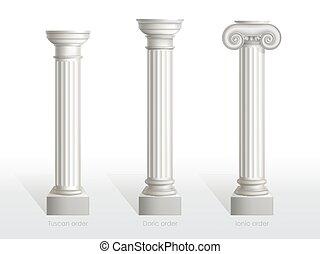 antieke , order., set, dorisch, tuscan, ionisch, kolommen