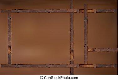 antieke , ouderwetse , donker, houten, bruine
