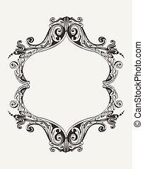 antieke , ouderwetse , frame, vector, koninklijk