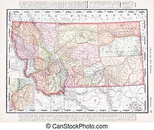 antieke , ouderwetse , kleuren kaart, van, montana,...