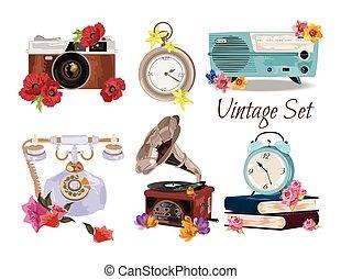 antieke , ouderwetse , set, accessoires, verzameling