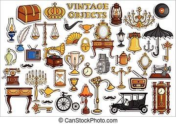 antieke , ouderwetse , sticker, voorwerp, verzameling