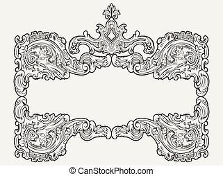 antieke , ouderwetse , vector, frame.