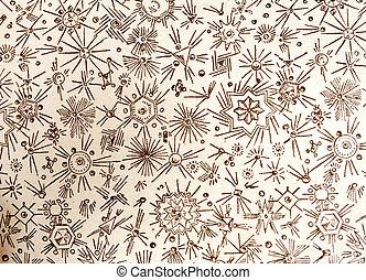 antieke , papier, stichten, op, oud, boeken dek, circa, 1880