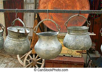 antieke , potten, hangend