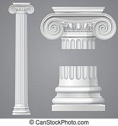 antieke , realistisch, ionische kolom, vrijstaand